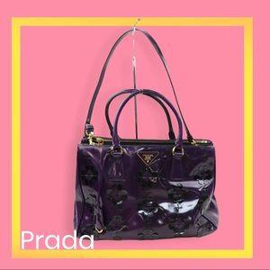 Prada Floral Applique Spazzolato Bauletto Bag